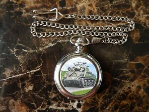 AMERICAN SHERMAN TANK  CHROME POCKET WATCH WITH CHAIN (NEW)