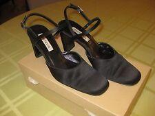 Ann Taylor Vera Black Satin Ladies Dress Heels Rhinestone Buckles Size 6 1/2