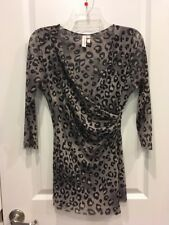 Anthropologie Sweet Pea Staci Frati Maternity Mesh Animal Print V-Neck Shirt Top