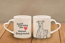 "Italian Grayhound - ceramic cup, mug ""Good morning and love, heart"", USA"