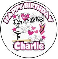 Purple Gymnastics splits girl birthday personalised A4 cake topper icing sheet