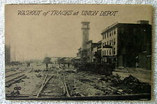 POSTCARD WASHOUT OF RAILROAD TRAIN TRACKS AT THE UNION DEPOT #r83