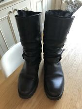 SARTORE BLACK LEATHER BIKER BOOTS - 37.5
