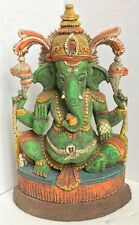 Lord Ganesh Figurine/Statue/Sculpture, Handcarved - Green Patina. Very Beautiful