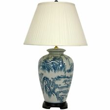 "Oriental Furniture 29"" Blue and White Chinese Landscape Lamp"