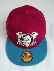 New NHL Ice Hockey Mighty Ducks Sized hat Flat Brim Closed back Fitted Cap