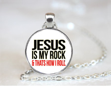 Jesus Is My Rock PENDANT NECKLACE Chain Glass Tibet Silver Jewellery