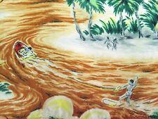 1950's Kuonakakai RAYON Vintage Hawaiian Aloha Shirt water skiing grass huts MED