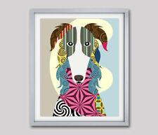 Borzoi/Russian Wolfhound Dog Pop Art Pet Animal  Print Puppy Portrait Painting