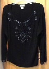 The Look Randolph Duke Silk/Rayon Embellished Black Sweater - Women's Large New