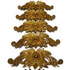 4x Wood Carving Handmade Teak Flower Sculptures Home Decor Vintage Collectibles