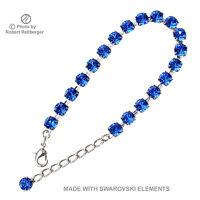 Versilbertes Armband mit Swarovski Kristall Farbe Saphir Blau