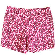 """Ann Taylor Loft Floral Paisley Pink Casual Walking Shorts 4 Pockets 32"""" Waist"""