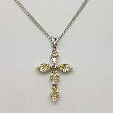 Lovely 9ct White Gold Lemon Quartz & Diamond Cross and Chain. Goldmine Jewellers