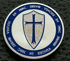 TOP QUALITY SILVER LAYERED MASONIC KNIGHT TEMPLAR COIN BLUE ENABLED SHIELD