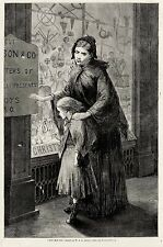 POOR VICTORIAN MOTHER & CHILD OUTSIDE TOY STORE DOLLS 1868 CHRISTMAS ART PRINT