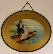 """Antique Flue Cover - Man Woman Boat - 9"""" Oval Frame"""