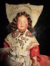 """Vintage Jointed Celluloid Plastic Doll Christian Woman? Royalty? 7 1/2"""" 2/19"""