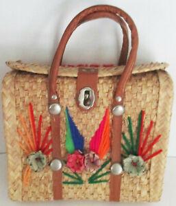Vtg Mexican Straw woven handbag purse Mexico Double handle Souvenir Tropical