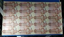 Uncut 1986 Canada $2 Note 20 pieces Uncut Dollar Banknote Currency #03