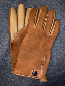 Ugg SPLICE VENT Logo Tab Men's Leather Tech Gloves. M.