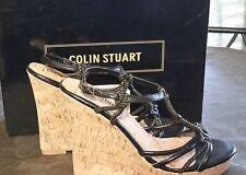 Colin Stuart black Gold SEXY Design T Strap Cork Wedge Sandal Shoe Size 9B NEW
