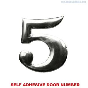 Self Adhesive House Door Number 5 Plaque Sign Chrome Home Letter Apartment Gate