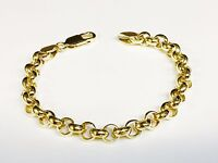 """14kt solid Yellow gold handmade ROLO link chain/bracelet 7"""" 16 grams 7 MM"""