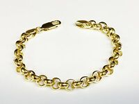 "14kt solid Yellow gold handmade ROLO link chain/bracelet 7"" 16 grams 7 MM"