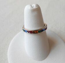 Sterling Silver Colorful Rainbow Spacer Ring  101101