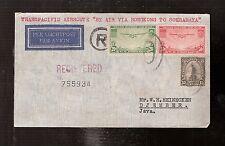 2) USA 1937 airmail cover Transpacific via Hong Kong to Netherlands Indies