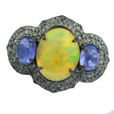 0.52 cts Diamond Ring 925 Sterling Silver Opel tanzanite oxidized Ring Size 7