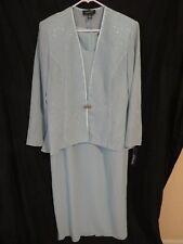 New Women's R&M Richards Light Blue Formal Party Glitter Jacket & Dress Size 18