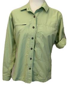Mountain Hard Wear Women's Small Kiwi Green Vented Hiking Shirt Roll Tab Sleeve