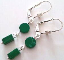 LOVELY PAIR OF SILVER PLATED MALACHITE DANGLE EARRINGS.