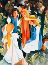 Poster auf Holz 63x46 Cm August Macke Quattro Ragazze X169821