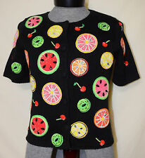 MICHAEL SIMON New York Small Black SS Cardigan Fruit Sweater Embroidered Beaded