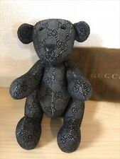 Gucci Teddy Bear Plush Toy Stuffed Animal Gg Logo Pattern Monogram Black Used