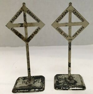 """PAIR OF 7"""" BING TRAINS RAILROAD CROSSING LOOK OUT FOR CARS SIGNS FREE SHIPPING!"""