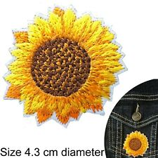 Sunflower Iron on patch yellow sun flower head embroidery summer iron-on patches