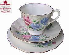 Royal Albert Friendship Series SWEET PEA Trio Tea Cup Saucer Plate 1st Eng