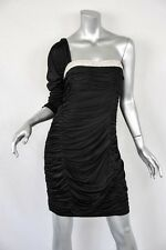 ROBERT RODRIGUEZ Black One-Sleeve+*CRYSTALS* Draped-Back Ruched LBD Dress 10 NEW