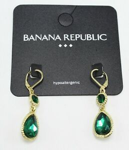 New Banana Republic Gold & Green Rhinestone Drop Earrings nwt #E1076