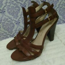 Franco Sarto High Heel Sandals Womens 6.5 M Clash Brown Leather Ankle Strap