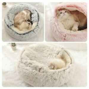 Puppy Dog Cat Kitten Calming Bed Plush Fluffy Soft Warm House Semi-closed