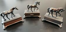 Vintage Collection of 3 Die Cast Metal Horses on Base Pencil Sharpeners.