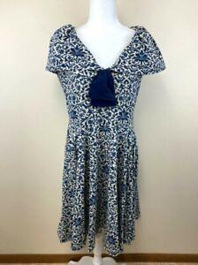 Effie's Heart XL Buckingham Dress Floral Parlour Print Tan Navy Flounce Shoulder