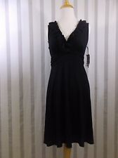 International Concepts Dress Small Black Ruffle V Neck NWT