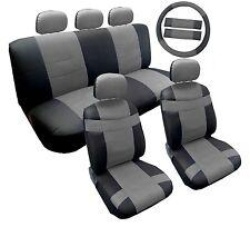 14PC Premium PU Black Grey Car Front Rear Seat Covers Steering Wheel Set HS