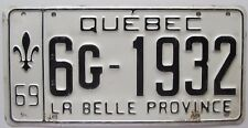 Quebec 1969 License Plate NICE QUALITY # 6G-1932